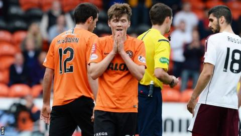Blair Spittal shows his disappointment at being sent off against Hearts