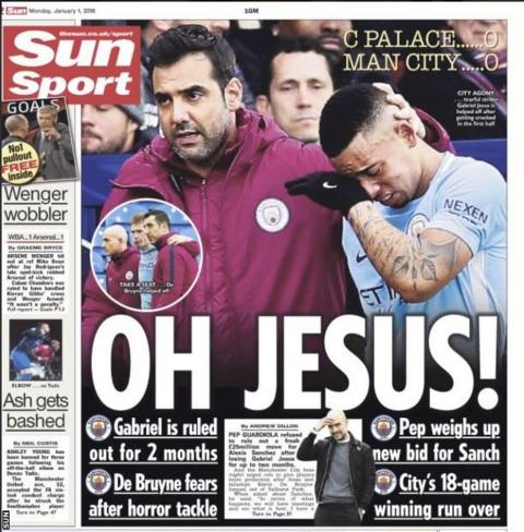 The Sun's back page says Man City striker Gabriel Jesus is out for two months