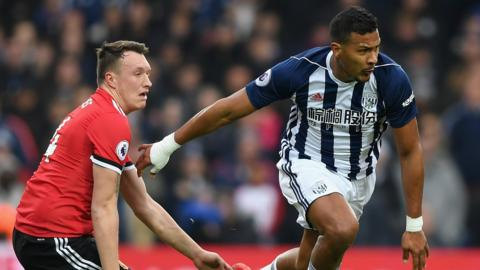 Salomon Rondon in action with Manchester United's Phil Jones