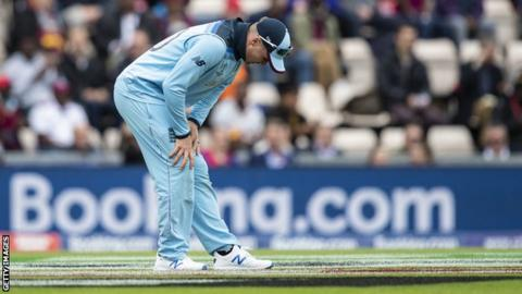 England batsman Jason Roy tries to stretch his hamstring after pulling up against West Indies