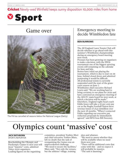 Back page of the Independent on Friday, 27 March