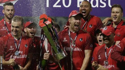 Lancashire players celebrate
