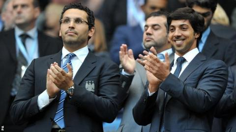 Manchester City chairman Khaldoon Al Mubarak and owner Sheikh Mansour bin Zayed Al Nahyan