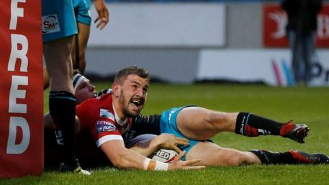 Salford's Adam Walker scores his second try