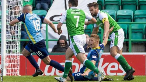 Docherty was fouled for an Accies penalty in their 3-1 victory at Hibs on Saturday