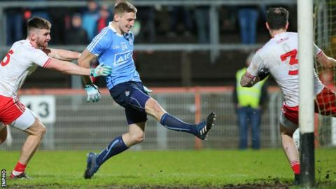 Eoghan O'Gara scores Dublin's second goal against Tyrone in Saturday night's Football League match