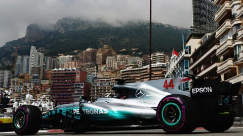 Lewis Hamilton drives around the Monaco circuit