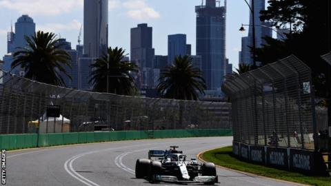Lewis Hamilton drives around Albert Park