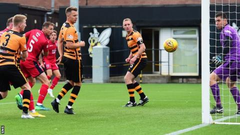 Callum Morris scores for Ross County against Alloa Athletic