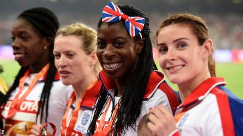 Great Britain women's 4x400m relay team (from right), Seren Bundy-Davies, Christine Ohuruogu, Eilidh Child and Anyika Onuora celebrate with their bronze medals