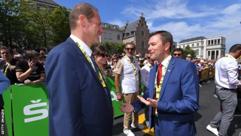 Tour de France director Christian Prudhomme (left) spoke to UCI president David Lappartient (right) before stage one of the 2019 race