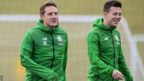 Kris Commons and Celtic team-mate Callum McGregor in training