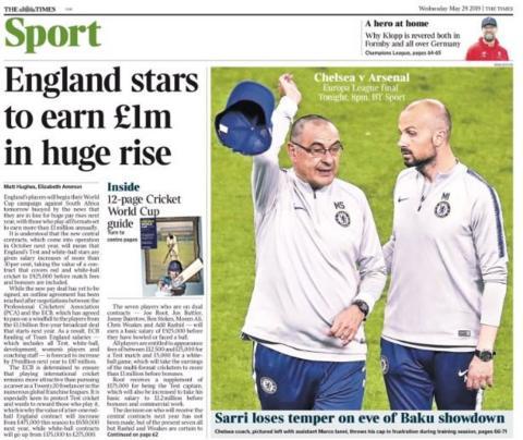 Times back page: Sarri loses temper