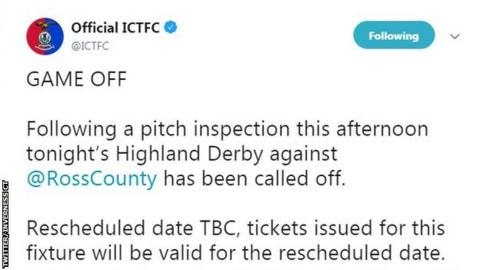 A tweet by Inverness Caledonian Thistle