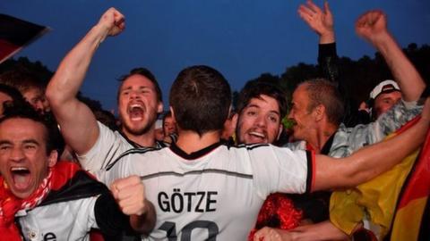 Germany fans celebrate Toni Kroos' late winner against Sweden