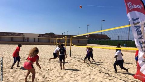People playing volleyball at a Go Spike weekend