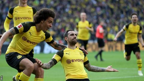 Paco Alcacer celebrates scoring for Borussia Dortmund against Wolfsburg