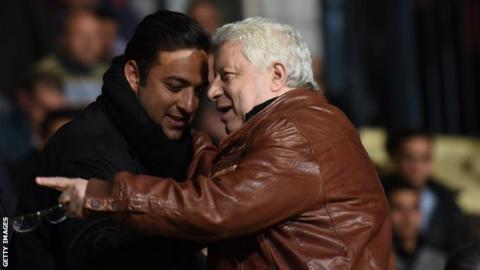 Zamalek president Mortada Mansour (right) with former player Mido