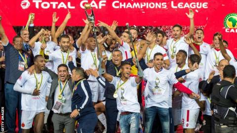 Wydad Casablanca celebrate winning the 2017 African Champions League