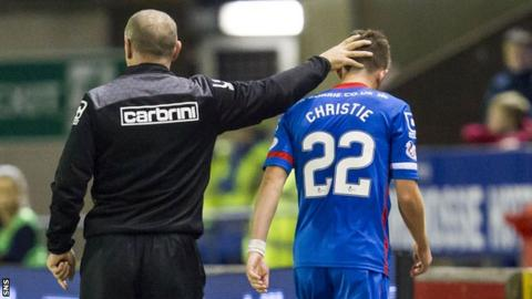 Inverness manager John Hughes congratulates Ryan Christie on his performance during the side's 2-0 win over Hearts in the Scottish Premiership