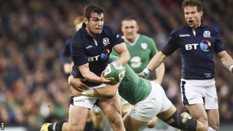 Stuart McInally playing for Scotland against Ireland