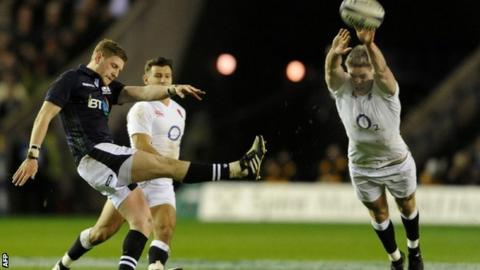 Scotland fly-half Finn Russell endured a frustrating outing against England