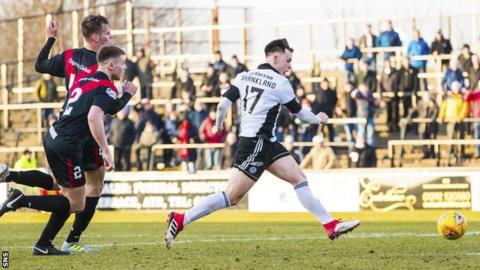 Lawrence Shankland scores to make it 3-0 Ayr Utd at home to Airdrieonians