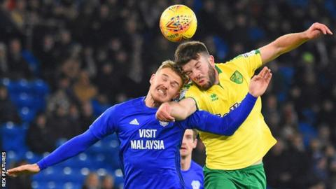 Cardiff striker Danny Ward was taken off at half-time in the win over Norwich on 1 December
