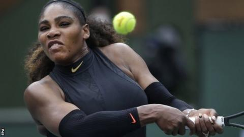 Serena Williams in second round action at Indian Wells