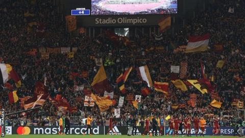 Roma's fans celebrate beating Barcelona in the Champions League quarter-final