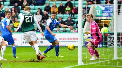 Niklas Gunnarsson scores for Hibernian against Queen of the South