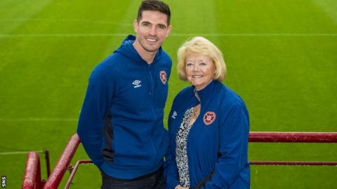 Hearts striker Kyle Lafferty and owner Ann Budge