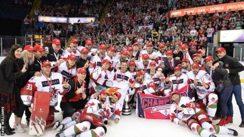 Cardiff Devils team photo after win