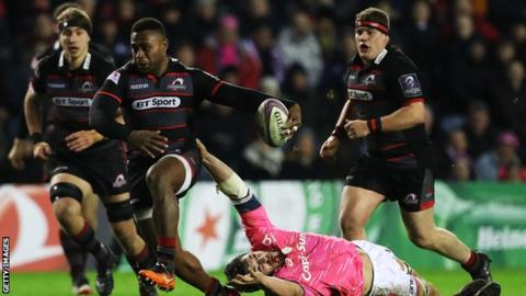 Edinburgh playing Stade Francais at Murrayfield in January