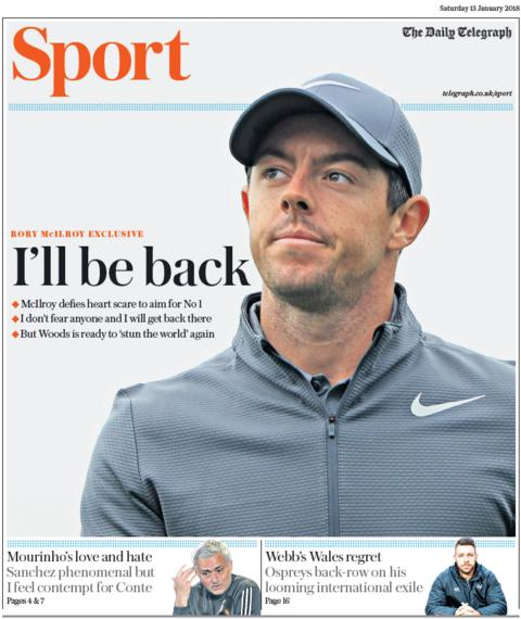 The Telegraph's sport section on Saturday