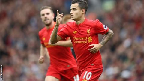 Philippe Coutinho started 31 Premier League games and scored 13 goals for Liverpool last season