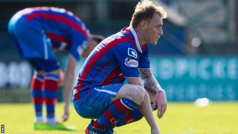 Inverness Caledonian Thistle's Carl Tremarco looks despondent after defeat by St Johnstone