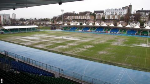Glasgow Warriors' waterlogged Scotstoun Stadium pitch