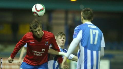 Action from Ards v Coleraine at Bangor
