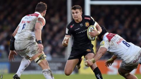 Exeter's Henry Slade and Leicester's Sione Kalamafoni