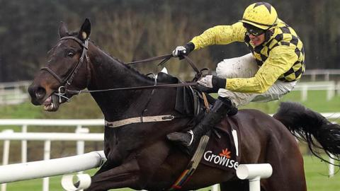 Paul Townend is about to hit the rails on Al Boum Photo after seemingly getting his bearings wrong as he approached the last in the Champion Novice Chase