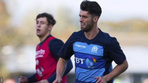 Adam Hastings trains with Scotland