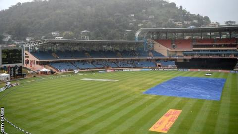 General view of the Grenada National Stadium with covers on due to rain