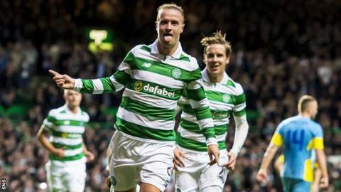 Celtic's Leigh Griffiths celebrates scoring against Astana