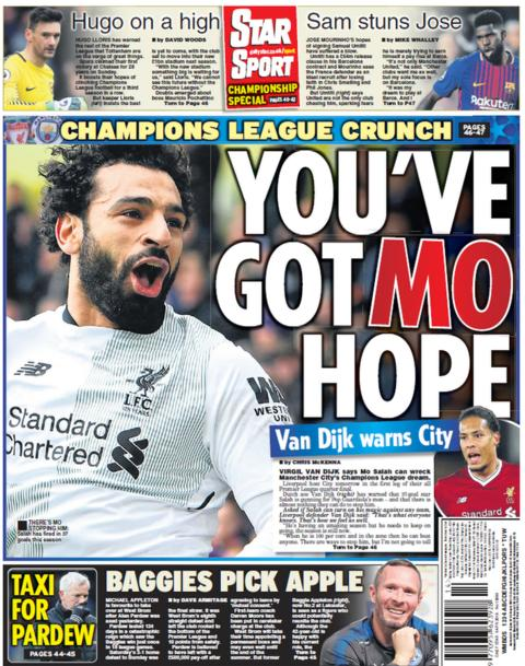 Daily Star back page on Tuesday