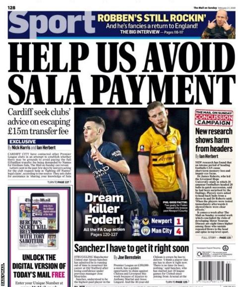 The Mail on Sunday back page