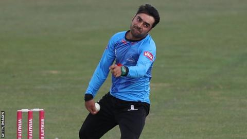 Afghanistan spinner Rashid Khan in action for Sussex