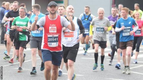 Competitors during Sunday's Belfast City Marathon