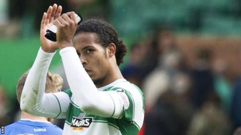 Virgil van Dijk applauds the Celtic fans