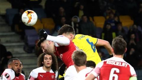 Stanislav Dragun scores for BATE Borisov against Arsenal